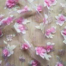 1Yard Three-dimensional Flower Lace Fabric Organza Applique Embroidery Fabrics Mesh DIY Dress Clothing Accessories