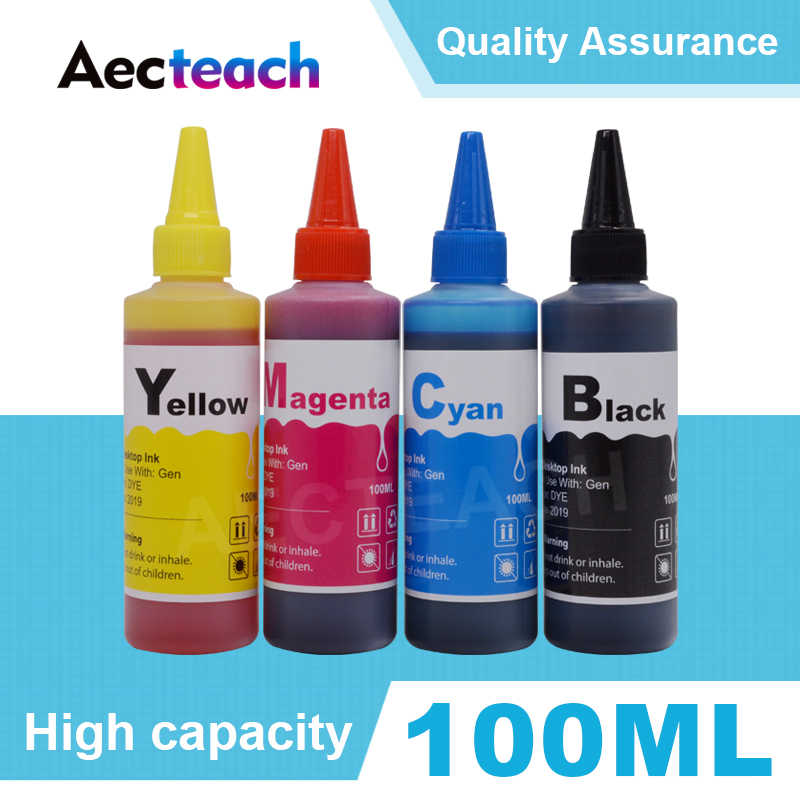 Aecteach Universal Printer Tinta Isi Ulang Kit untuk HP 63 XL DeskJet 1110 1112 2130 2131 2132 2133 2134 3630 100 ml 4 Warna