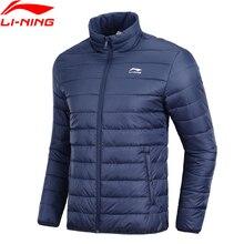 Li-Ning мужское Трендовое Спортивное Стеганое пальто, зимняя теплая спортивная куртка с подкладкой из полиэстера AJMN009 COND18