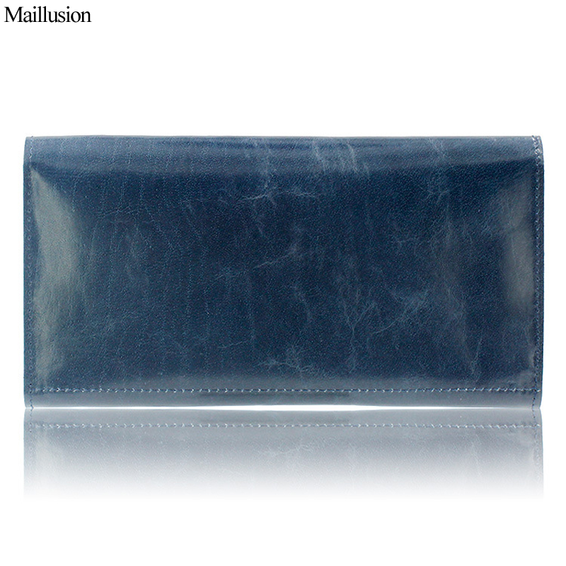 Maillusion 100% Genuine Leather Women Wallet Long Clutch Wallets Vintage Solid Oil Wax Ladies Multiple Cards Holder Money Purse 100% wax oil cowhide vintage wallets female money clips real leather clutch wallet for women credit cards change purses 2014 new