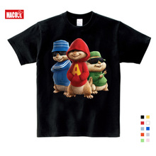 Alvin and the chipmunk Childrens  T-shirt red cotton 3 T 9 summer short sleeved boys girls shirt 4 5 6 7 8 years