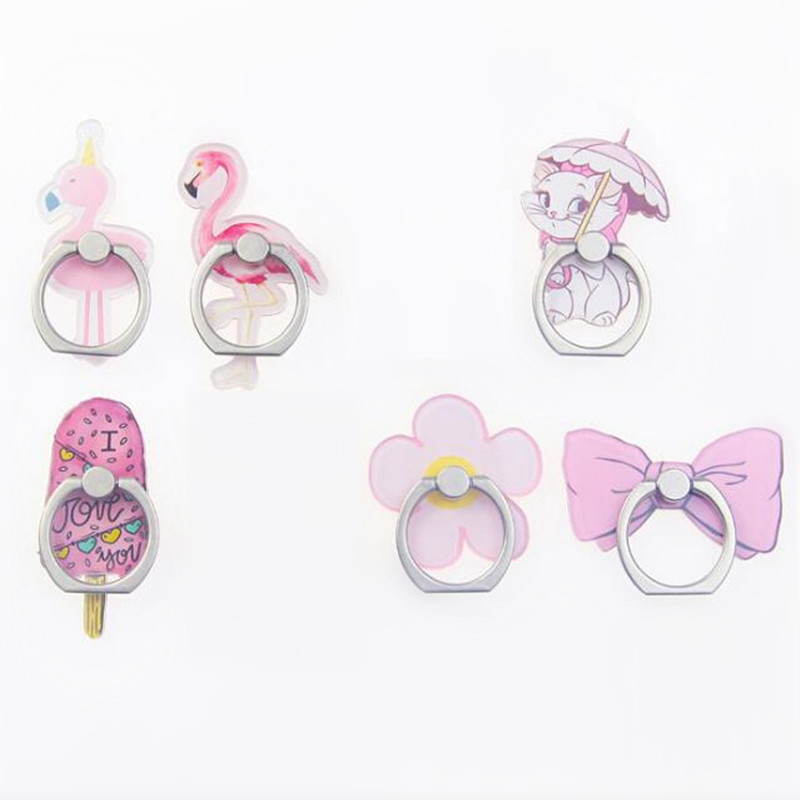 UVR 2019 New Acrylic Cartoon Stay Cute Finger Ring Flamingo Cat Ice Cream Mobile Phone Ring Bracket For IPhone6S 7 8P Xs