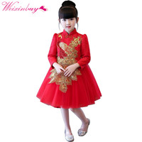 Spring Fall Chinese Style Girl Dress Embroidery Cotton Net Yarn Bow Princess Dress Carnival Festival Birthday