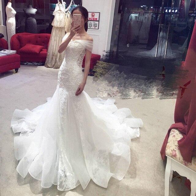 Hot Shoulder Wedding Dress 2017 New Waist Fish Tail Bride Summer Luxury Court