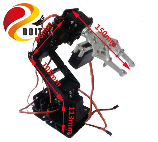 Original DOIT 6 Dof Robot Arm+Mechanical Claw+6PCS High Torque Servos + Large Metal Base DIY RC Toy Robot Arm Manipulator Paw symmetric grasping large clamp mechanical robot claw manipulator gripper metal aluminum hand grips paw w ldx 335mg servo