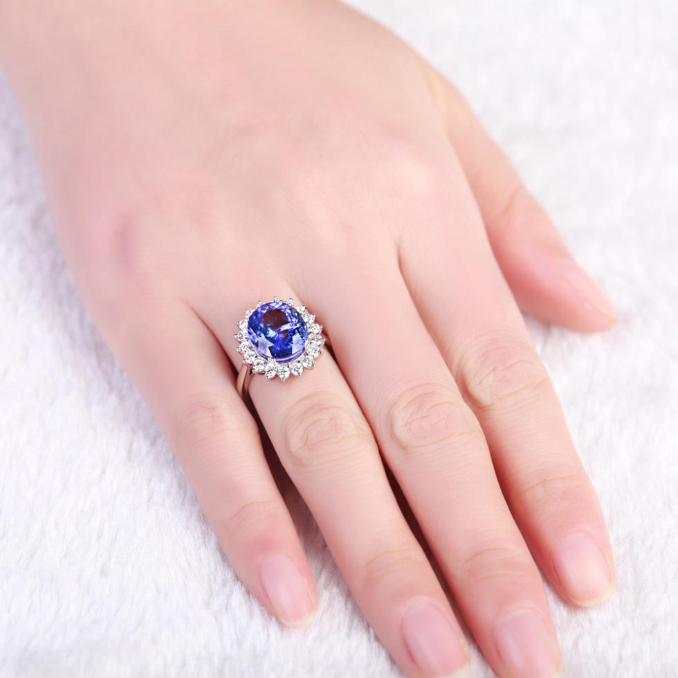5carat Blue Gemstone 18K White Gold Blue Tanzanite Ring For Women ...