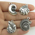 20143 4PCS MIX Vintage Silver Alloy Beach Sea Ocean Theme Round Shell Conch Pendant Jewelry Findings-- Free Shipping