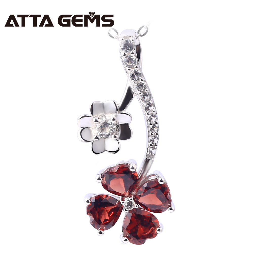 Natural Garnet Sterling Silver Pendants For Women Fine Jewelry Romantic Sweet Style Natural Red Garnet S925 Women Wedding Party