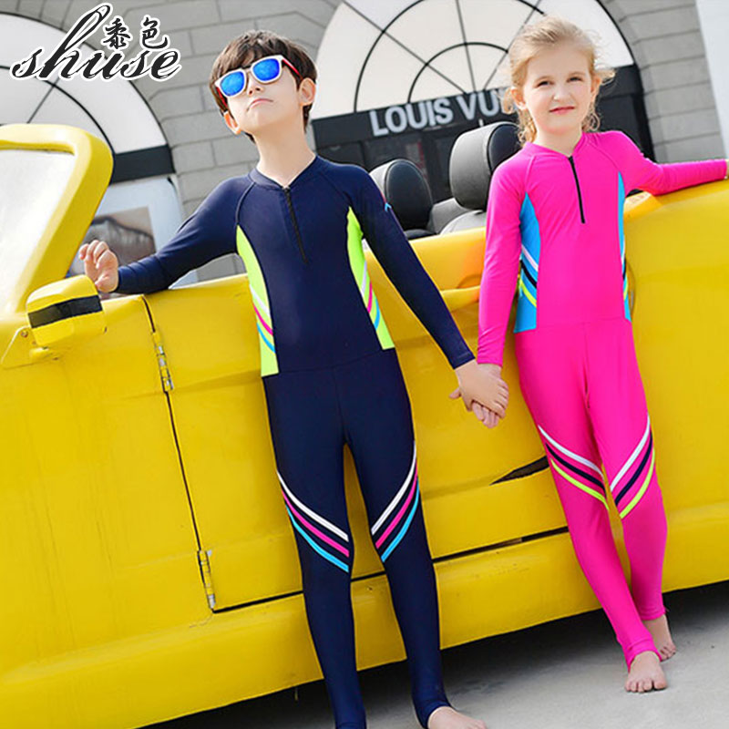 Children's One Piece Swimsuits Girl Boys Bathing Suits One Piece Suits For Children Boys Beach Wear Girl Swimwear Long Sleeve(China)