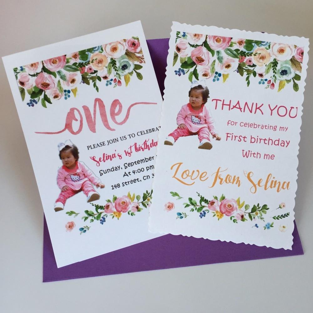 8 Personalized Happy 1st Birthday Invitation Cards Invites Custom
