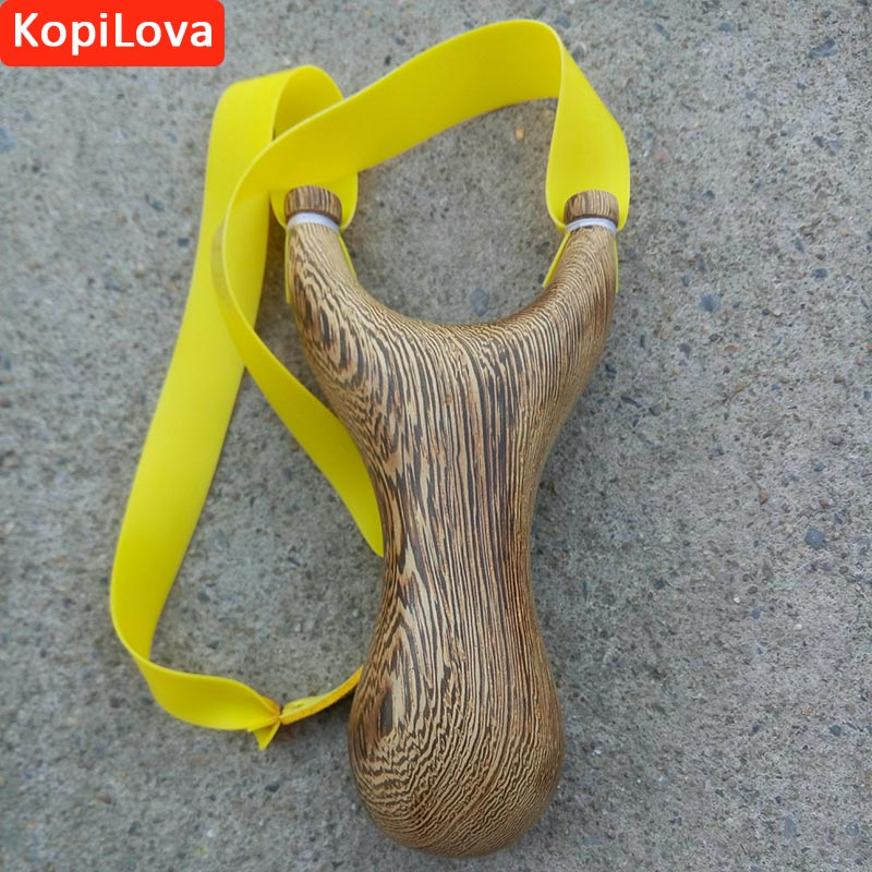 KopiLova Self Defense Sling Shot With Rubber Band Wooden Handle Bow Catapult for Hunting Camping Free Shipping [] every day special offer wooden wood self defense stick home car wooden baseball bat hard wooden club club