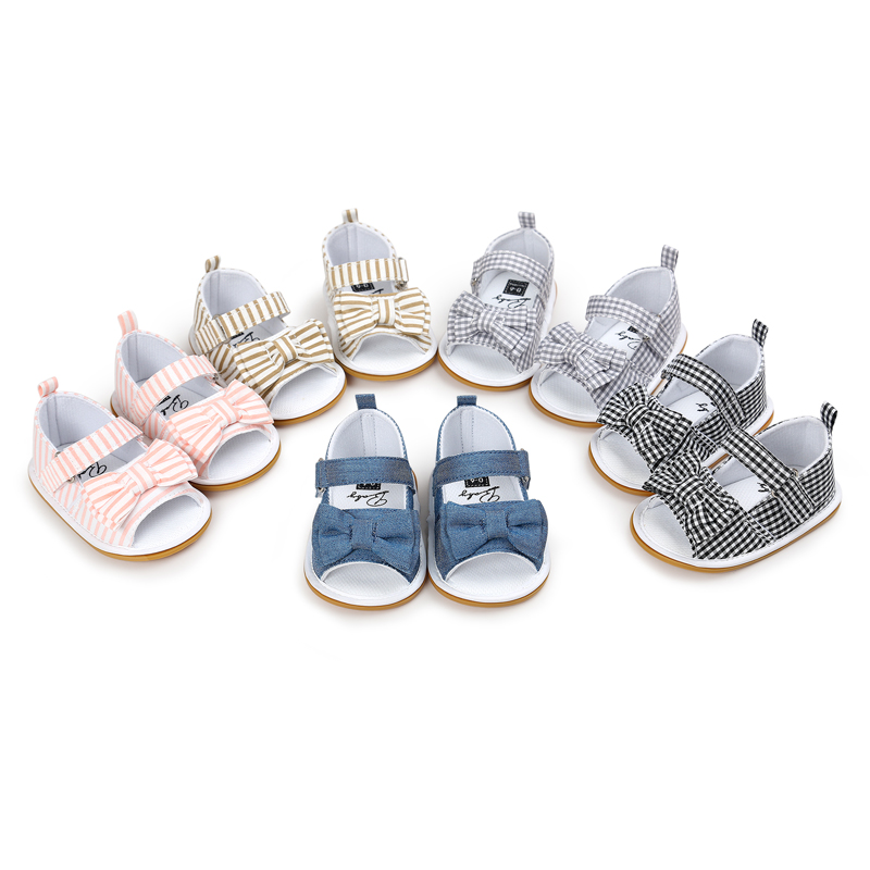 New Fashion Baby Girls Sandals Knotbow Summer Cotton PU Sandals Shoes Non-Slip Toddler Shoes 0-18M