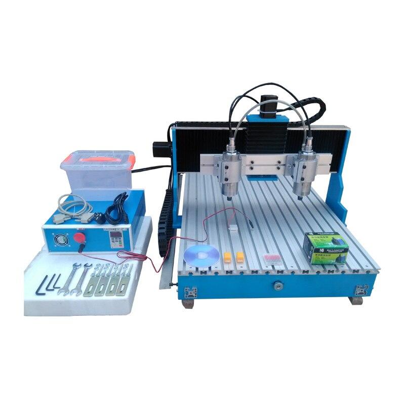 Linear Guide Rail CNC Milling Machine Double-spindle CNC 6090 Router USB / Parallel port 1.5KW Spindle Motor vertical cnc metal milling machine usb parallel port 1 5kw cnc 3040 router linear guide rail engraving machine