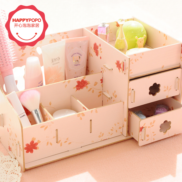 Creative DIY wooden box kawaii storage box make up organizer jewelry
