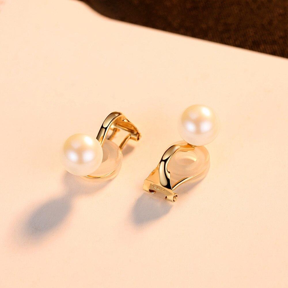 PAG & MAG Fashion élégant 7-8mm naturel rond perle Clip boucles d'oreilles pour les femmes véritable 18 K or jaune sans oreille Clip bijoux Au750 - 6