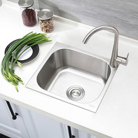 Small mini single slot small family 304 stainless steel sink basins thickening stage 37 * 32mm balcony single bowl