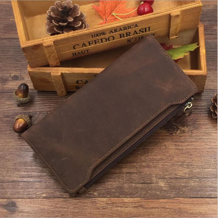 ФОТО Crazy horse leather Men's wallet card holder High quality Purse and handbags