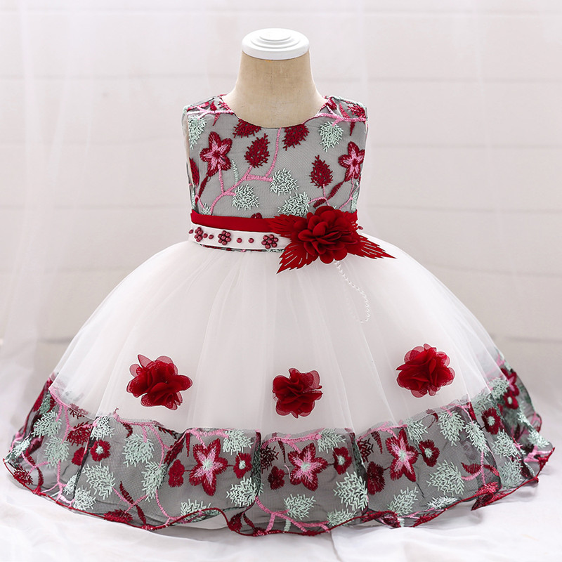 Infant Baby Girl Dress Lace Tulle Baptism Dresses For Girls 1st Year Birthday Beading Appliqued Party Wedding Baby Clothing(China)