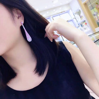 Qi Xuan_S925 Silver Plated Gold Earrings Earrings Hand Studded Full Cubic Zirconia High Carbon Zircon Exquisite Vintage Female