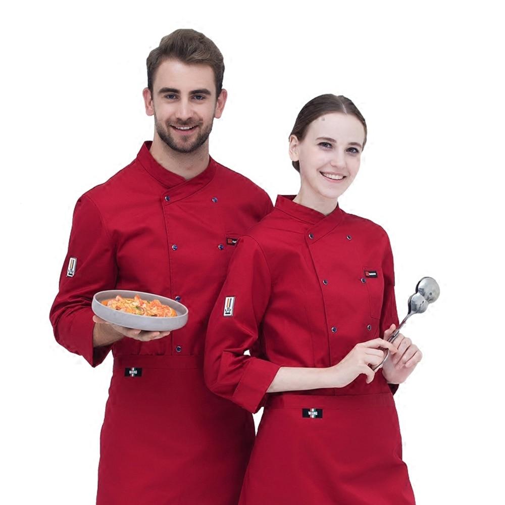Классический шеф-Костюмы с длинными рукавами Осень и зима Ресторан отеля мужские и женские куртка Кук костюм Повседневная обувь форма
