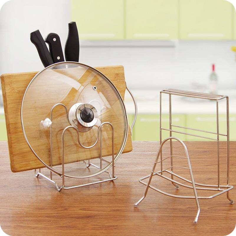 Stainless Steel Plate Dish Rack Pot Lid Shelf Cutting board Holder Kitchen Knife Stand Storage Rack Kitchen Organizer