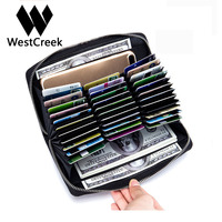 Westcreek Brand Men Women Leather RFID Long Zipper Wallets Large Capacity Organizer Credit Card Holder Travel