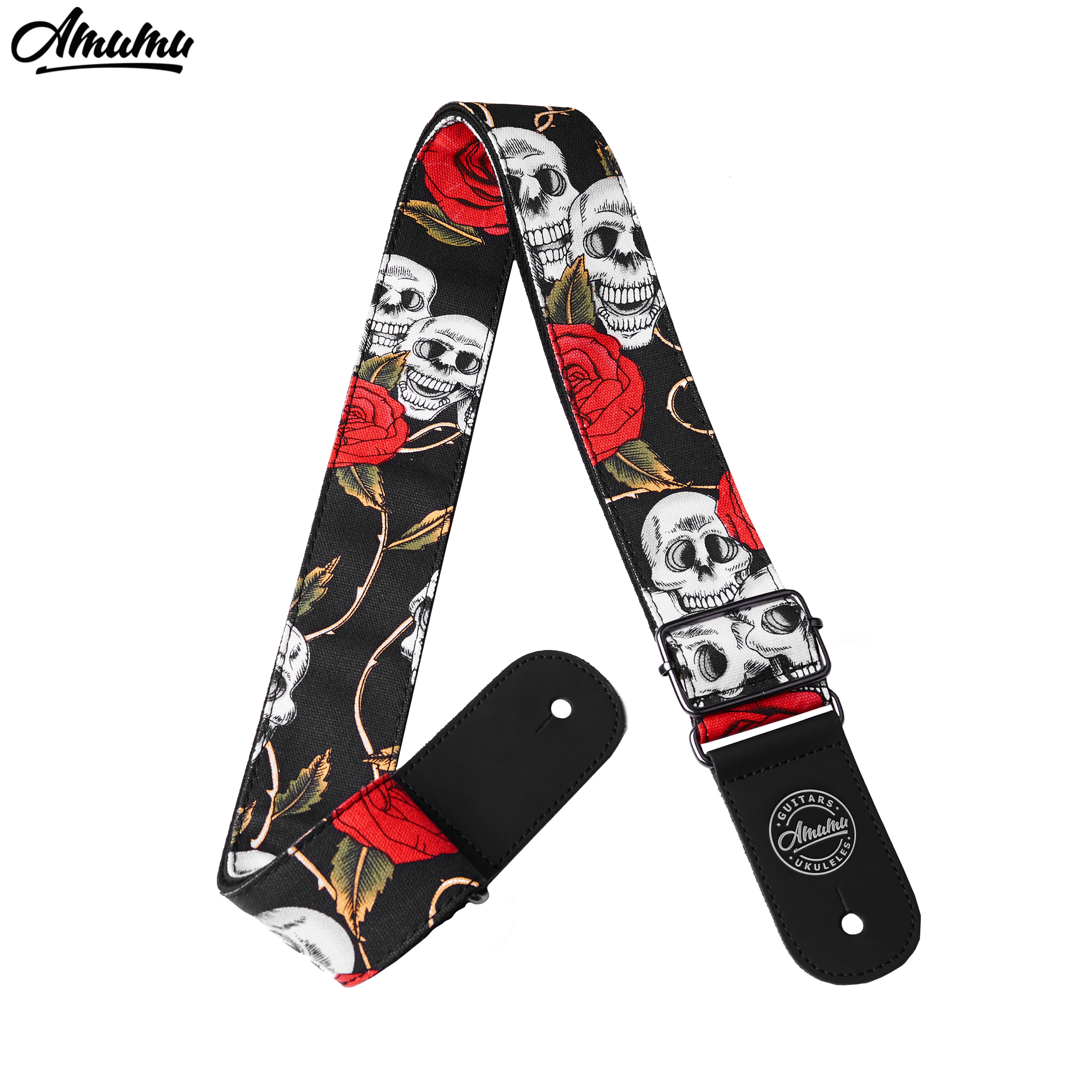 Skull and Rose Cotton Guitar Straps for Acoustic Electric Guitar 91-160cm Length with Leather End  5cm Width Amumu S625 acoustic electric guitar strap woven cloth leather end police line do not cross width 5cm 2 length 92 154cm 36 60 yellow black