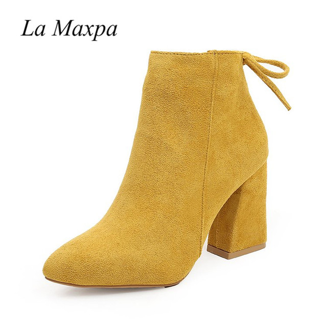 2019 Women Mid Calf Boots Yellow Color Pointed Toe Zippers Autumn Spring Women Martin Boots Casual Lace-up Boots Size 35-39 3