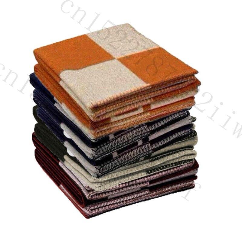 H cobertor xadrez cashmere crochê lenço de lã macia xale portátil quente sofá cama velo malha rosa lance cobertor marca h carta