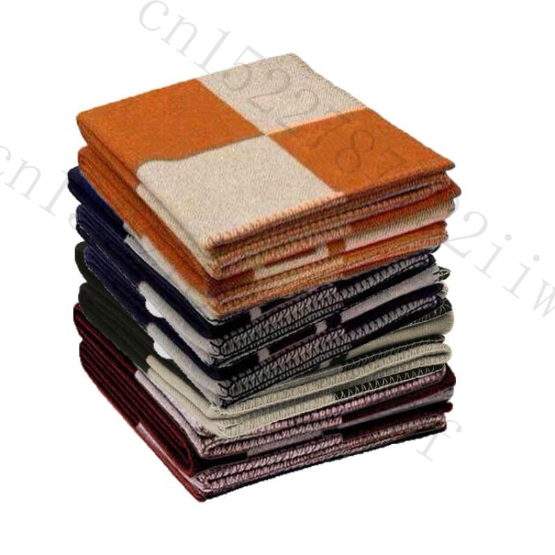 H couverture Plaid cachemire Crochet doux laine écharpe châle Portable chaud canapé lit polaire tricoté rose jeter couverture marque H lettre