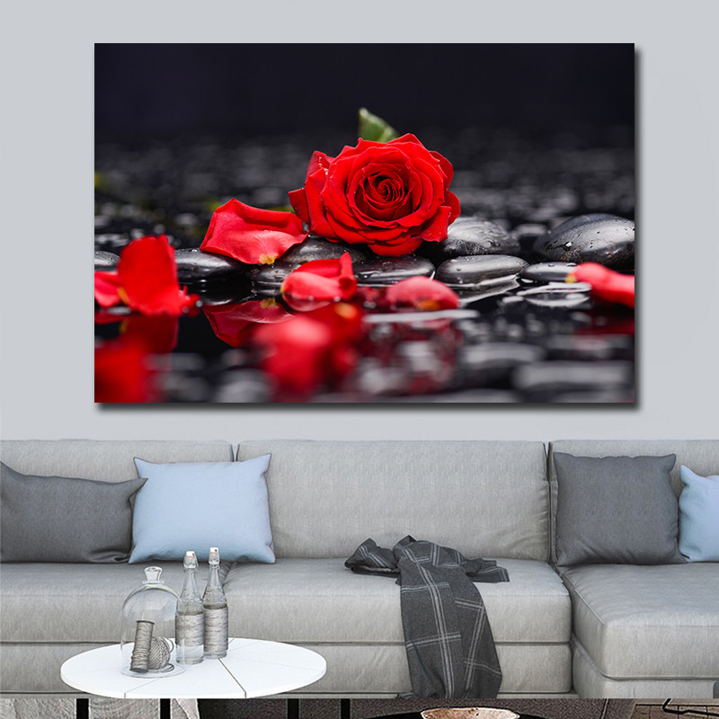 Canvas Home Decor Wall Art Red Rose Christmas Gifts Paintings For Living Room Cuadros Decoration Posters Prints Pictures