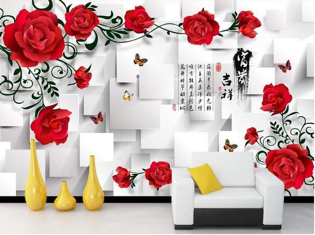 3d Wallpaper Custom Mural Non Woven Room 3 D Square Red Rose Pattern