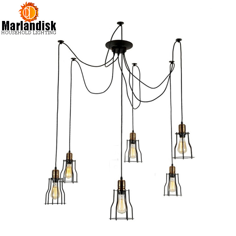 LED Vintage Pendant Light Retro Indoor Living Room Lights Iron Cage Lampshade Warehouse Style Light Fixture For Dining Room retro indoor lighting vintage pendant light led lights 24 kinds iron cage lampshade warehouse style light fixture