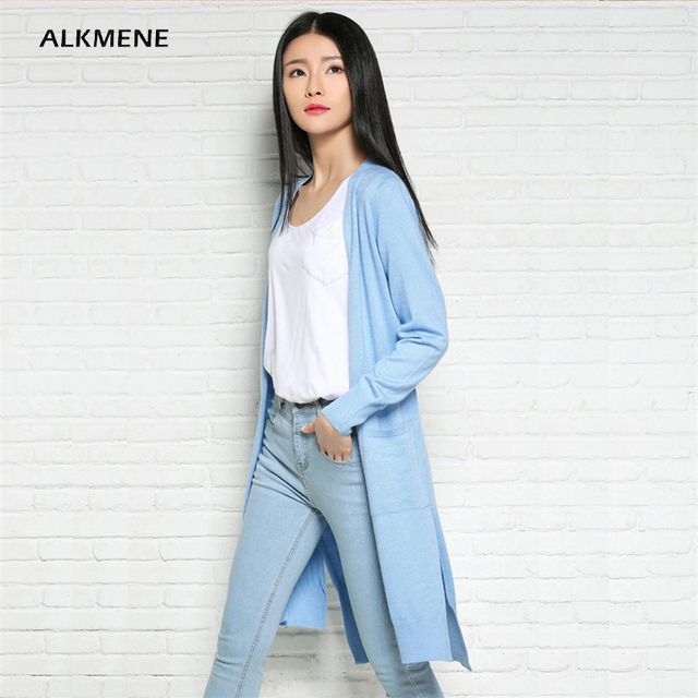 ALKMENE Irreguler Knitted Long Cardigan Women 2017 Spring Light Blue  Fashion Split Wool Knitted Cardigan Women s Femmen Jumper 043075d06