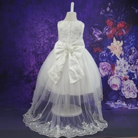 Kids Girls Flower Lace Elegant Dresses Ceremonies Wedding Birthday Teenagers Prom Gowns Party Wear Dress