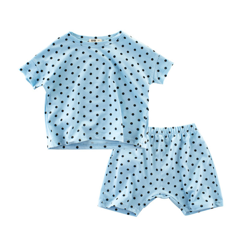Summer 2018 New Baby Clothes Polka Dot TOPS + Pants Baby Clothing For Children 1-9y Cotton Homewear Sleepwear Boy Girl Kids 2pcs children outfit clothes kids baby girl off shoulder cotton ruffled sleeve tops striped t shirt blue denim jeans sunsuit set