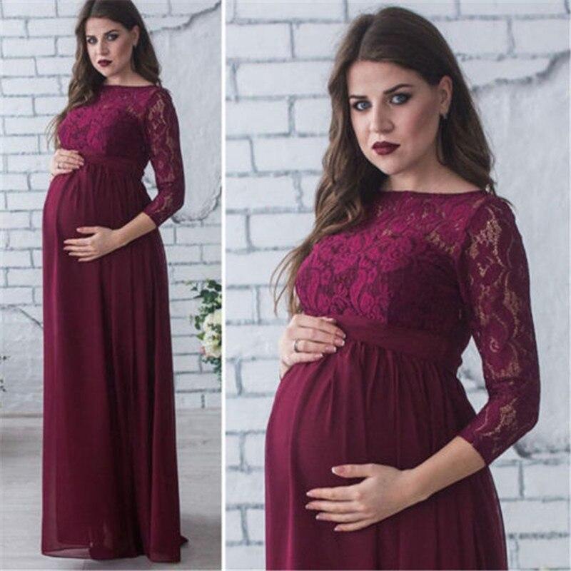 Robe de maternité de mode pour Photo Shoot Maxi robe de maternité longue dentelle de reconstitution historique fantaisie Sexy femmes maman accessoires de photographie de maternité