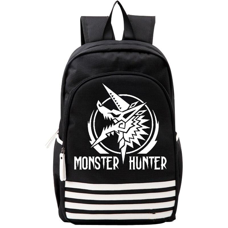 Monstre chasseur Zinogre Oxford cartable japon Anime Cosplay noir blanc rayure sac à dos epaules sac garçons filles cadeau