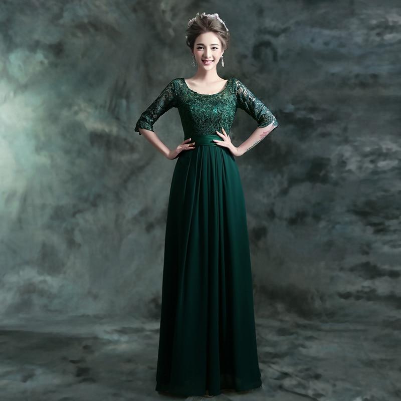 2016 Hot Sale Green Lace Scoop A line Floor Length Half Sleeves ...