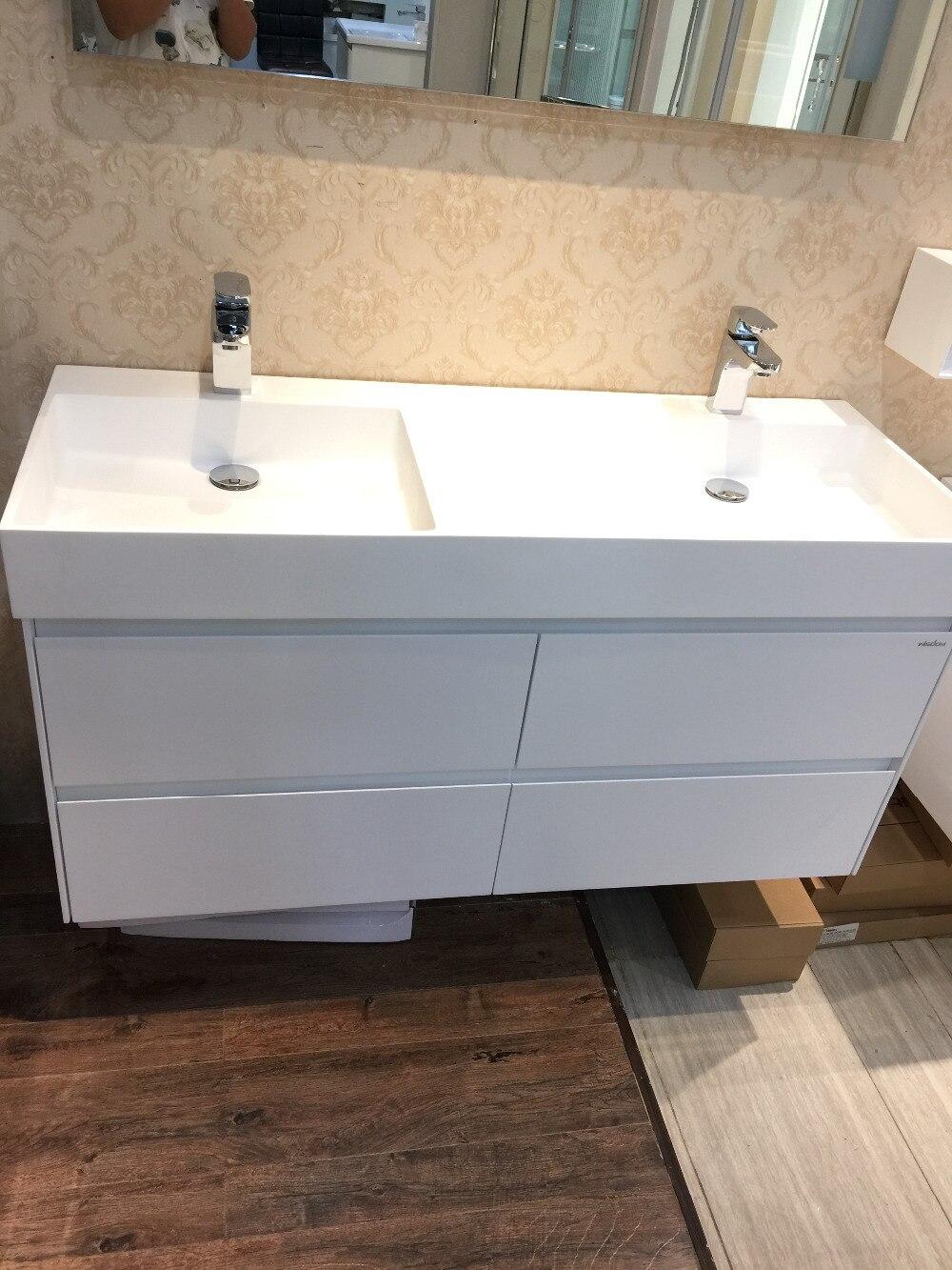 Bathroom washbasin cabinets - 1200mm Wall Mounted Solid Surface Stone Double Basin With Soild Wooden Bathroom Vanity Cloakroom Cabinet Oka