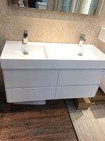 1200mm Wall Mounted Solid Surface Stone Double Sinks Soild Wood Bathroom Vanity Cloakroom Cabinet Oka Furniture 2090