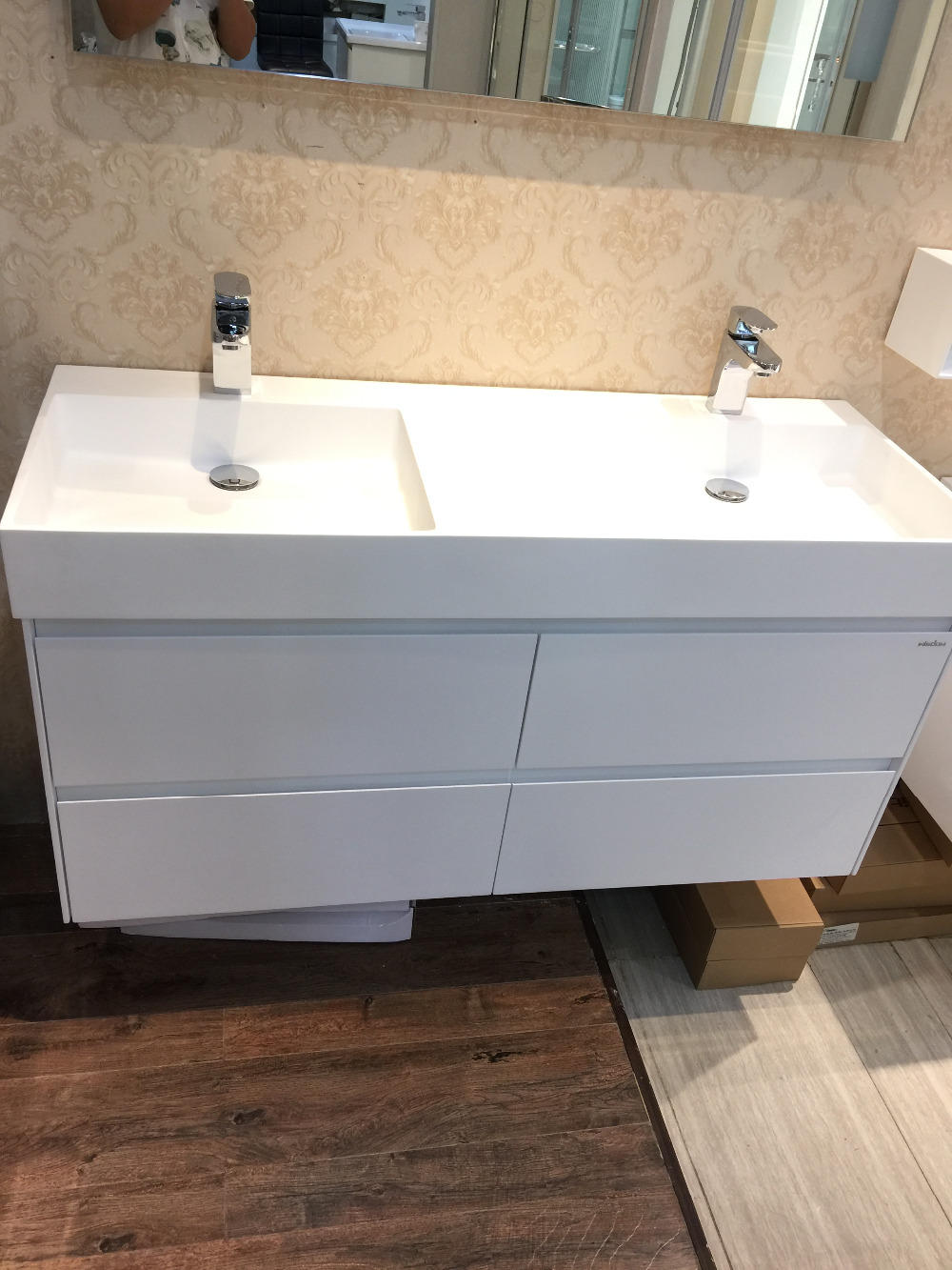 Bathroom sink stone - 1200mm Wall Mounted Solid Surface Stone Double Basin With Soild Wooden Bathroom Vanity Cloakroom Cabinet Oka