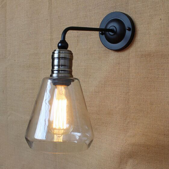 IWHD Loft Style Industrial Vintage LED Wall Light Retro Wall Lamp Antique Iron Glass Lampshade Wall Sconces Indoor Home Lighting kitchen aisle stair light wall lamp vintage iron fabric lampshade decor sconces indoor home lighting gift e14 3w led bulb 220v