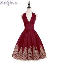 100% Real Images Satin Burgundy Cocktail Dress Applique Party Knee Length Dresses A line Couture Party Dresses Vestidos Coctail