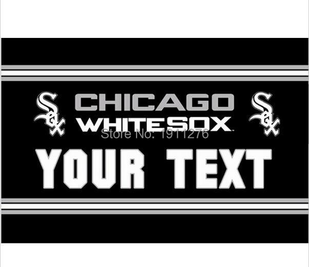 3X5FT MLB Chicago White Sox text flag US YOUR TEXT banner metal Grommets Free Shipping custom flag 100D Digital Print