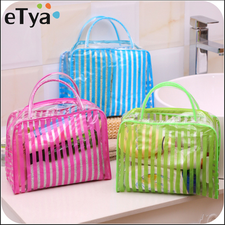 ETya PVC Transparent Cosmetic Bags Women Travel Waterproof Clear Wash Organizer Pouch Beauty Zipper Makeup Case Beach Bag Tote