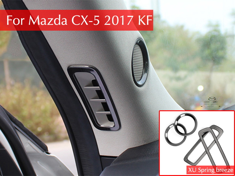 For Mazda CX-5 CX5 2017 2018 KF Car Front Window A Middle Air Outlet Speaker Bezel Cover Frame Stickers Car Styling for mazda cx 5 cx5 2017 2018 2nd gen lhd auto at gear panel stainless steel decoration car covers car stickers car styling