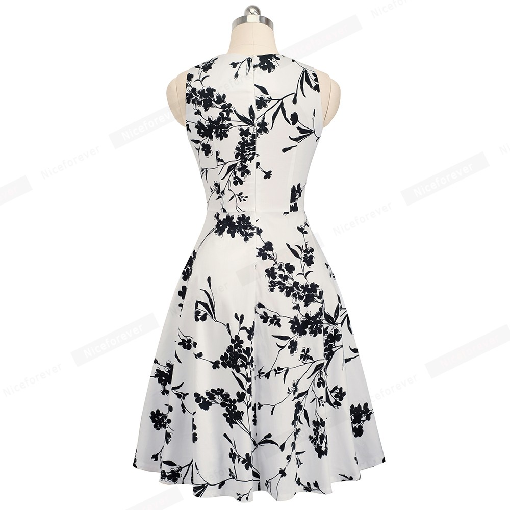 Nice-forever Vintage Elegant Embroidery Floral Lace Patchwork vestidos A-Line Pinup Business Women Party Flare Swing Dress A079 144