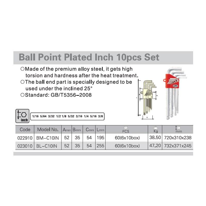 Set di chiavi a brugola per pollice in pollici Jetech 10 pezzi 1/16 - Utensili manuali - Fotografia 3