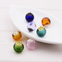 цена на 7X Diffuser Perfume Refillable 16mm glass ball 10mm lacecap set handmade Essential Oil Aromatherapy Bottle jewelry glass pendant